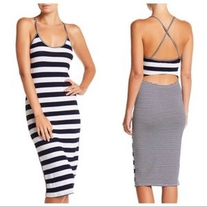 C & C California Lima Striped Cutout Midi Dress